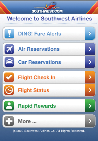 Mobile Webseite der Southwest Airlines