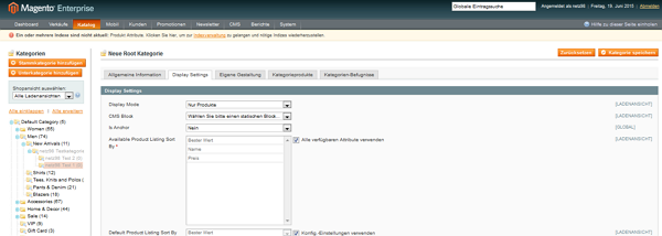 Kategorien in Magento managen