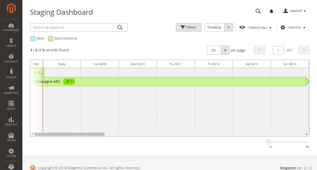 Staging Dashboard Magento Admin