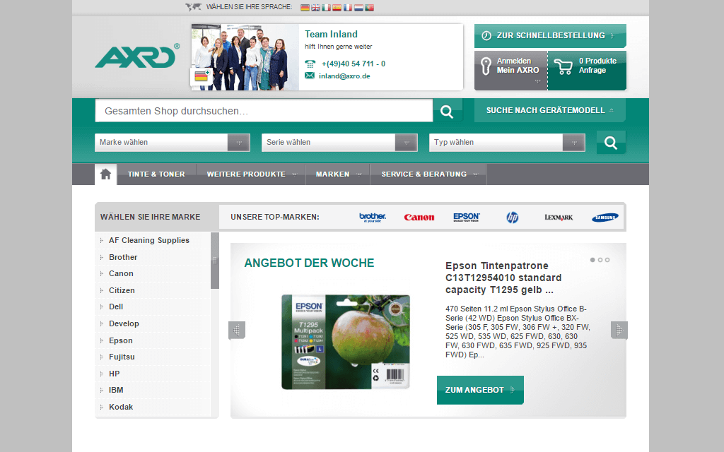 AXRO Magento Referenz Screenshot 1