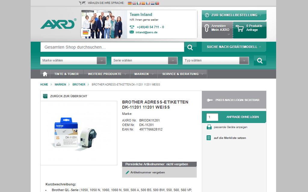 AXRO Magento Referenz Screenshot 3