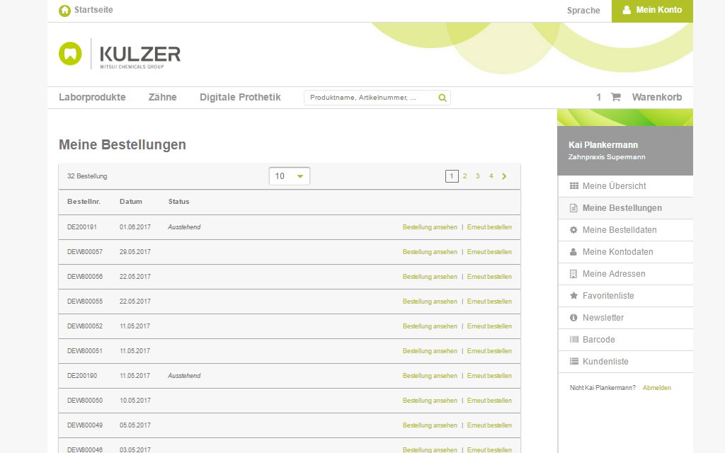 Kulzer Magento B2B Referenz Screenshot 8