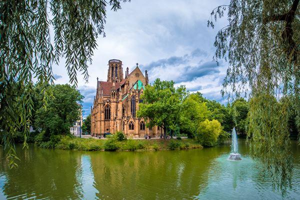 St. Johannes Kirche auf dem Wasser in Stuttgart