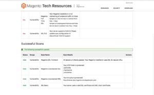 Beispiel Scan-Report von Magento Security Scan