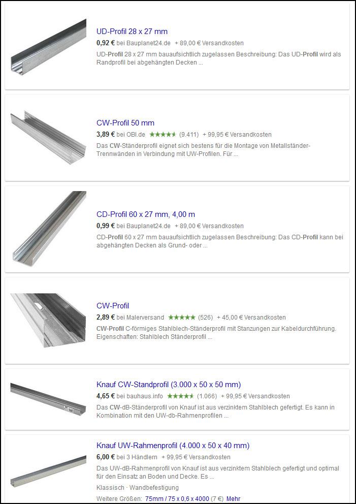 Bei Google Shopping gibt es jede Menge Treffer zu CW-Profilen.