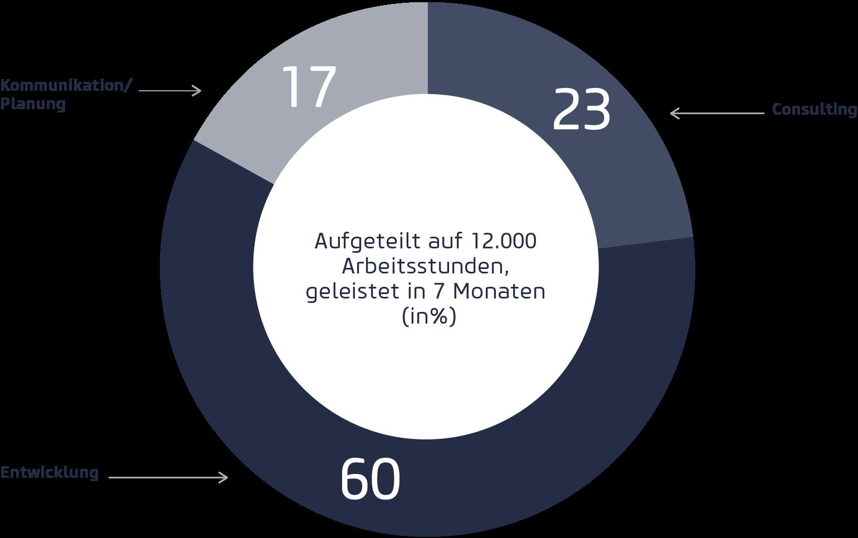 Aufteilung der Arbeitsstunden beim Eurobaustoff Digitalisierungsprojekt