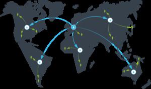 Bei einem Content Delivery Network (CDN) werden Daten auf mehreren Servern weltweit verteilt.