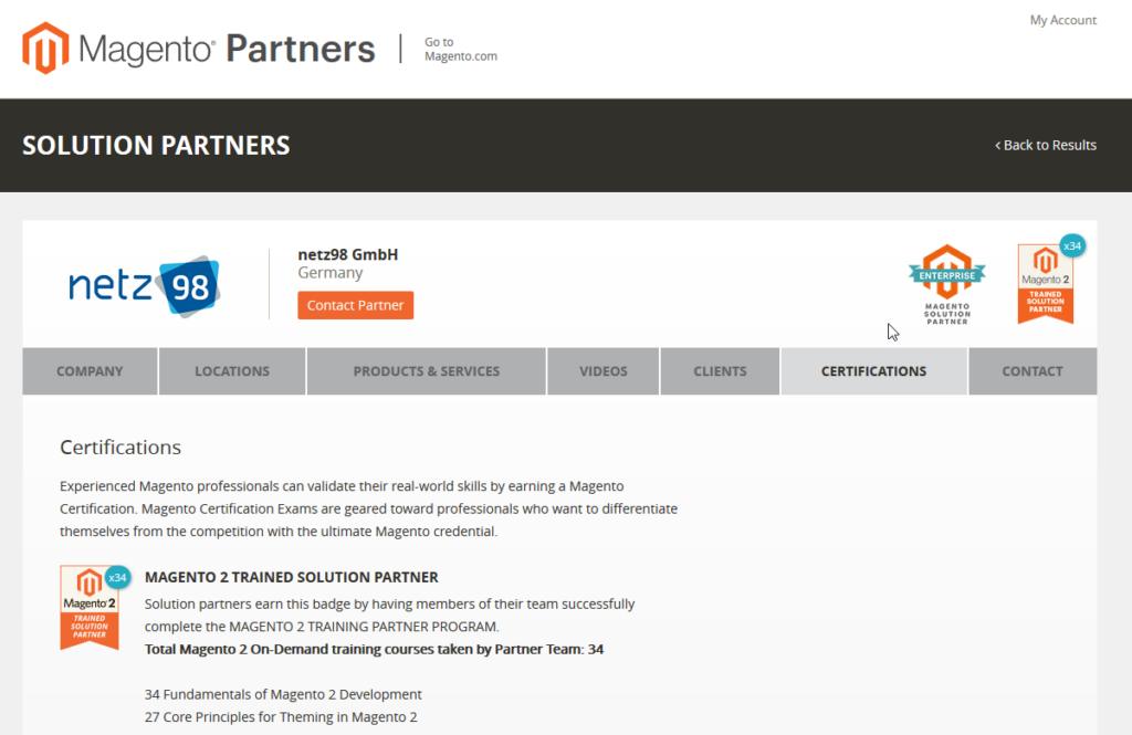 Die Webseite von Magento bestätigt es: Bei netz98 arbeiten derzeit die meisten offiziellen, in Deutschland tätigen Magento 2 Experten.