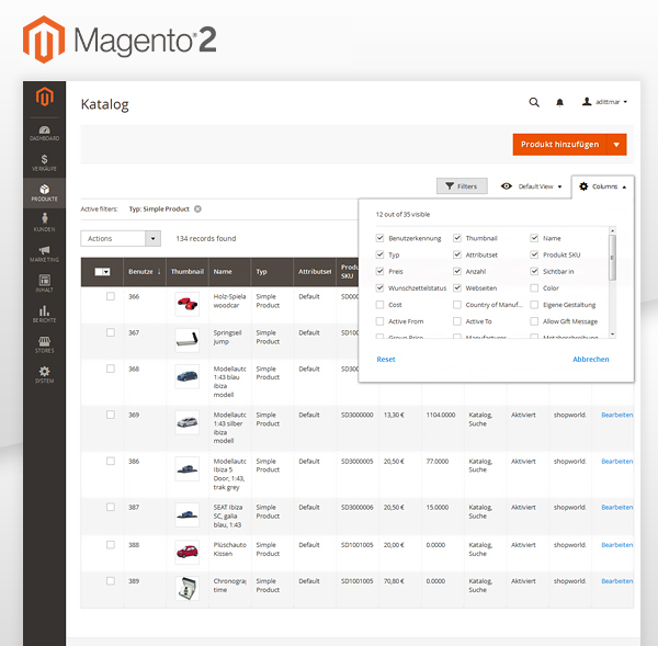 Magento 2 Backend Screenshot