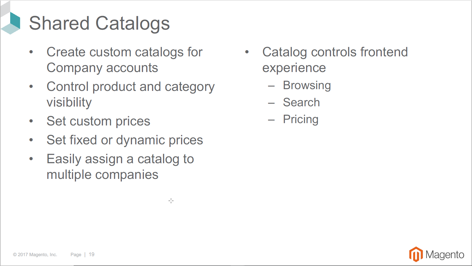 Shared Catalogs Magento B2B Edition