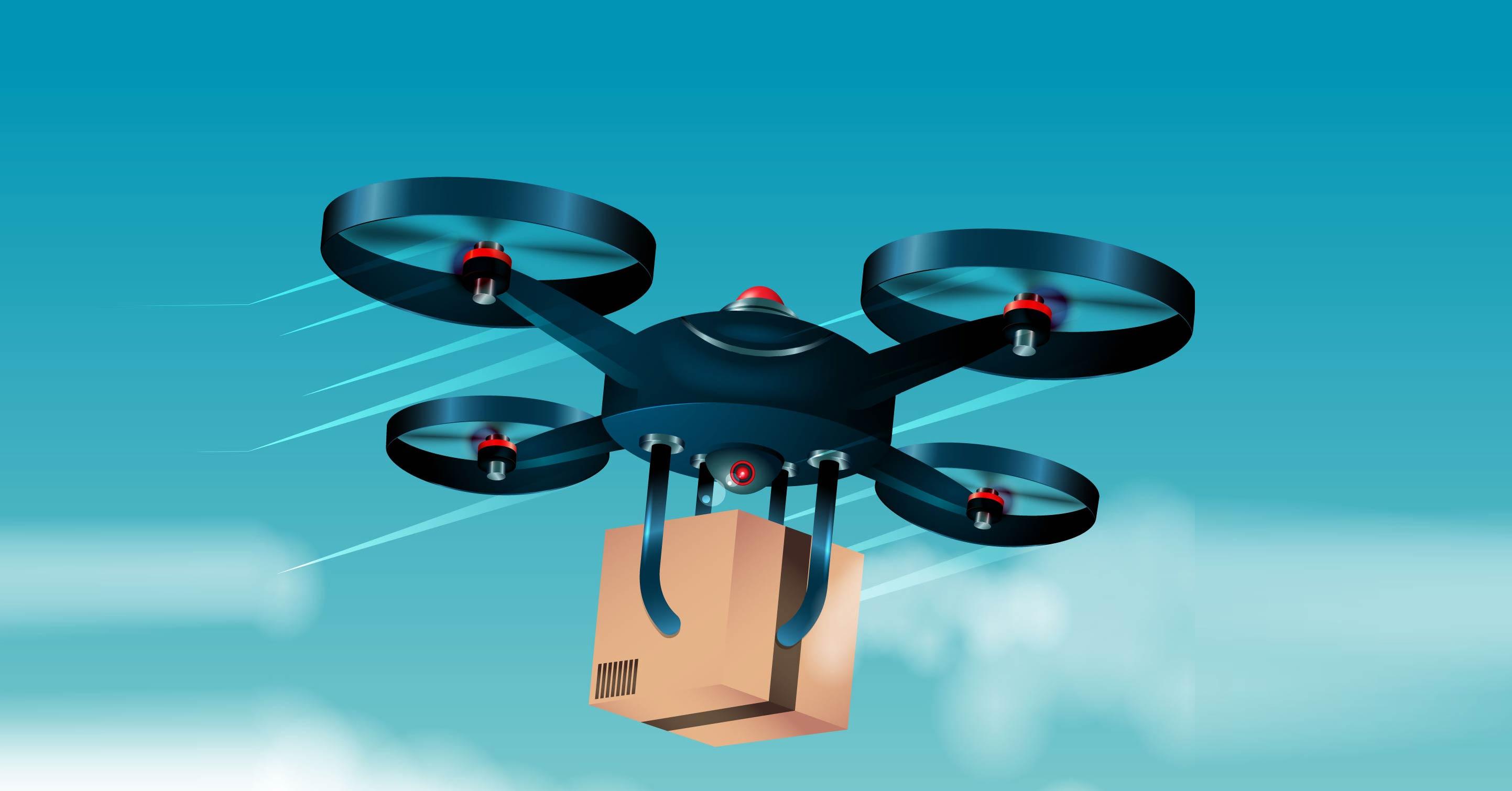 Drohne liefert Paket aus (Bild: freepik)